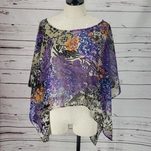 Beige By ECI Purple Paisley Sheer Large blouse